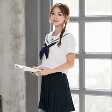 Uniforms Set  New Style Embroidery Japanese Student JK Uniform Sailor Suit Orthodox Summer White Collar Two Piece