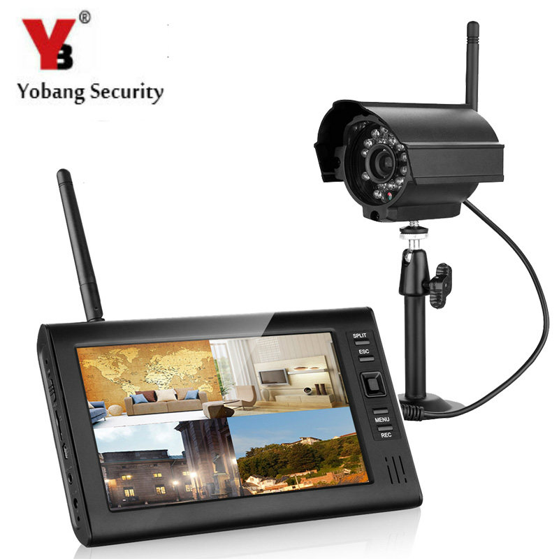 Yobang Security 7 inch 2.4G Wireless Video Surveillance Camera System Audio Video Baby Monitors 4CH Quad DVR Security System