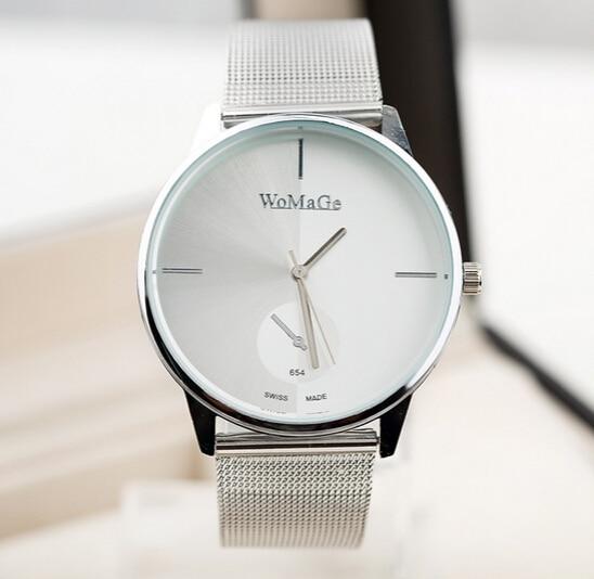 aliexpress com buy womage silver men s classic simple style womage silver men s classic simple style quartz watch fashion casual men dress watches