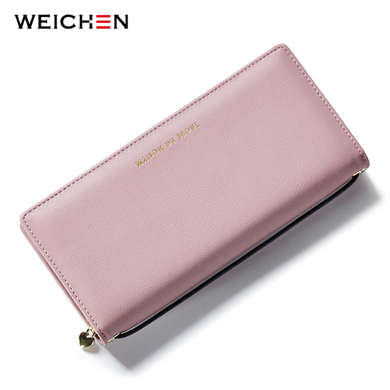 WEICHEN New Design Handle Long Clutch Wallets For Women,Solid Coin Purses Card Holders Female PU Leather Money Wallets Bags new designer phone wallets women brand leather long red coin purses female clutch wallets for gift money bag credit card holders page 6