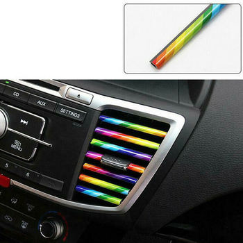10PCS Car Accessories Auto Colorful Air Conditioner Air Outlet Decoration Strip Car Air Conditioning Outlet Decorative Strip image