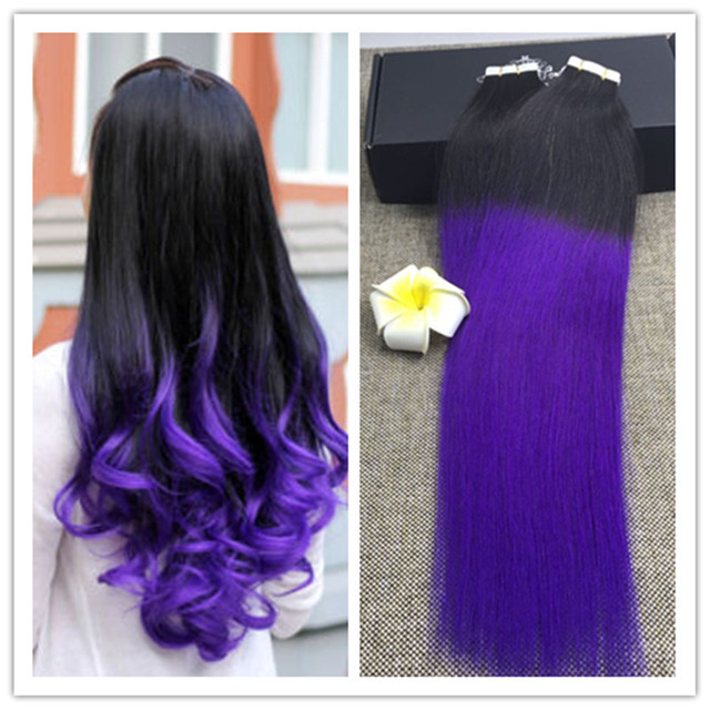 Full Shine Dip Dye Ombre Blayage Tape Hair Extensions Ombre Purple