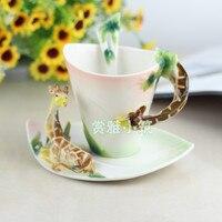 New Arrival Giraffe Coffee Cups Porcelain Tea Milk Cup Set with spoon Creative Ceramic Drinkware European Style Bone China Gifts