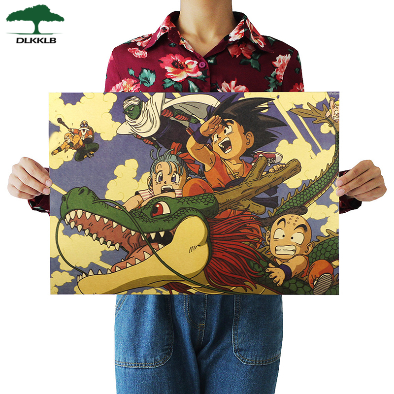 Dlkklb Dragon Ball Cartoon Movie Poster Kraft Paper Retro Poster Wall Sticker Decorative Painting Home Decoration 51.5 X 36cm