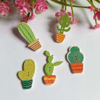 Formas de cactus mezcla 50 Uds 2 agujeros blanco Flatback botones de madera hechos a mano artesanía albúm de recortes de costura accesorios botones
