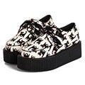 2016 Otoño Nuevo Ocio De Moda Zapatos de Plataforma Harajuku Lindo Gato Imprimir Creepers Mujer Estilo Japonés Harajuku VIVI Zapatos