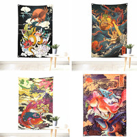 Large Japanese ukiyo e tattoo pattern poster banner flag Vintage tapestry Hanging painting tapestry Bar cafe concert home decor