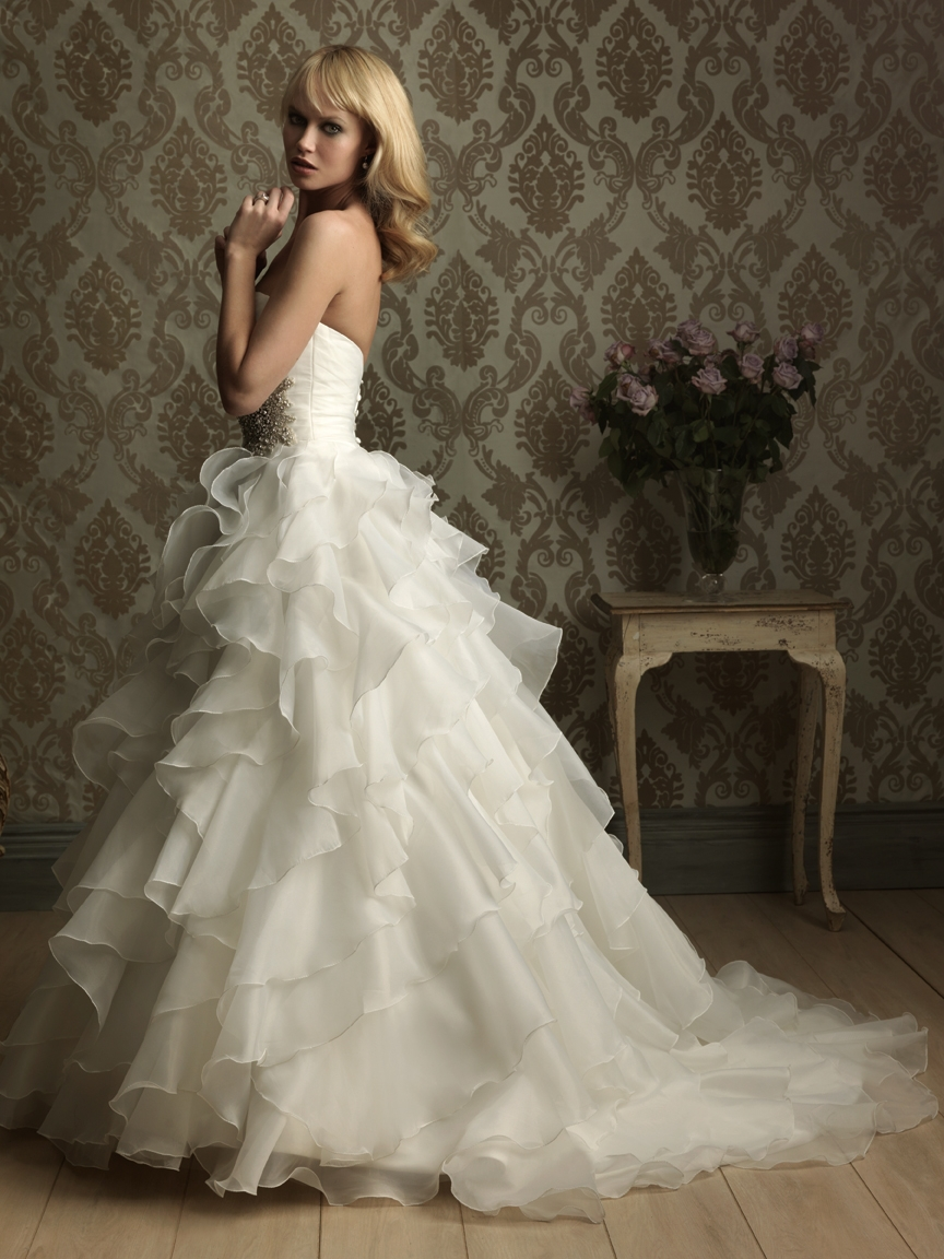 Custom Made Romantic Sweetheart Strapless Flowy Tiered Organza Ruffles Floor Length Sweep Train Ball Gown Wedding