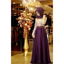 2016 Muslim A-line Long Sleeves Evening Dresses Purple Embroidery Hijab Islamic Dubai Abaya Kaftan Long Party Gown Prom Dress