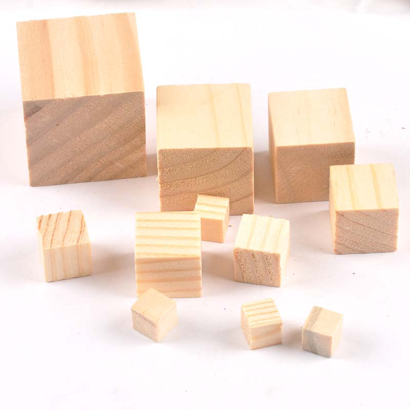 50pcs 10-40mm Wooden Crafts Foursquare Pieces Scrapbooking Crafts Wood Decoration For Home Decoration No Hole M2185X