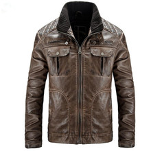 Leather Jacket Men Vintage Motorcycle PU Leather Jacket Casual Stand Collar Coat Brand Clothes Lederen Jas Mannen P4086