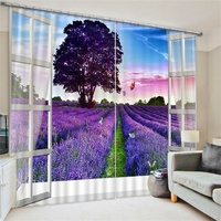 3d Scenery Lavender Beach Magnolia Cherry Blossoms Curtains Blackout Darkening Drapes for Living Room Small Window French Window