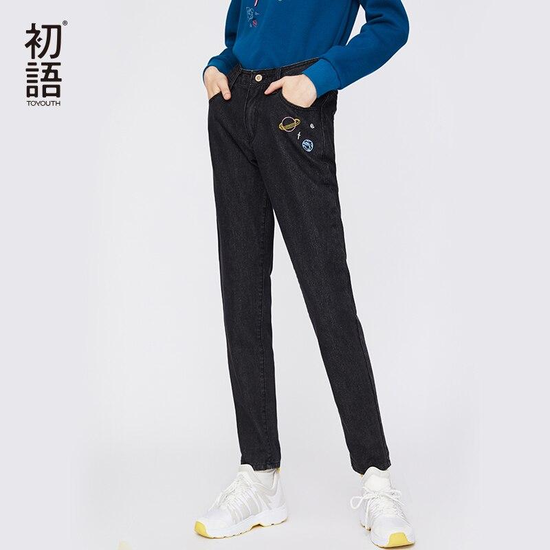 Mujer Jean Bordado Jeans Pantalones Negro Black Juventud Invierno Vaqueros Casual Denim Coreana Algodón 2019 De Pantalon wzBXRq4