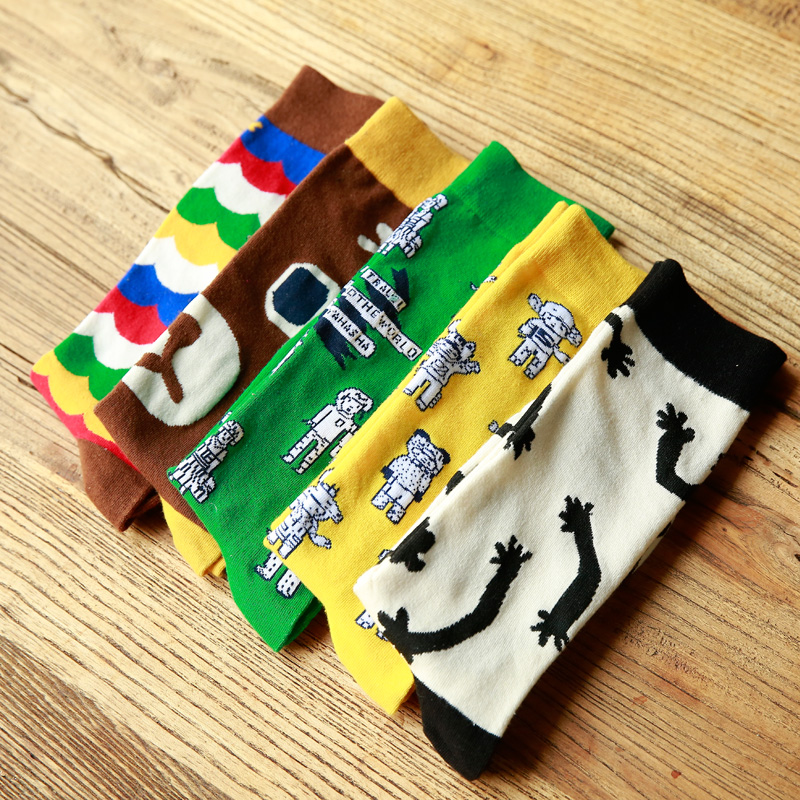 Clearance! Winter Autumn New Women In Tube Sock Robot Bear Women Socks Cotton EUR35-40