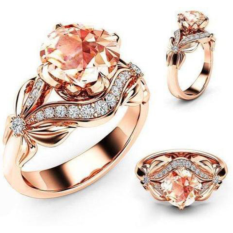 Mosovy Zircon Inlaid With Hollow Butterfly Rose Gold Wedding Rings for Women  Rhinestone Bow Engagement Ring for Female Jewelry deeed165f973