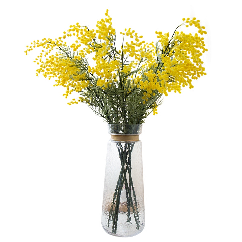 5 PCS Australia Acacia Yellow Mimosa Pudica Spray Silk Flower Konstgjord Blomma Bröllop Flower Party Event Decor Gratis frakt