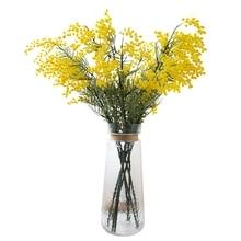 5 PCS Australia Acacia Yellow Mimosa Pudica Spray Silk Flower Artificial Flower Wedding Flower Party Event Decor Free Shipping