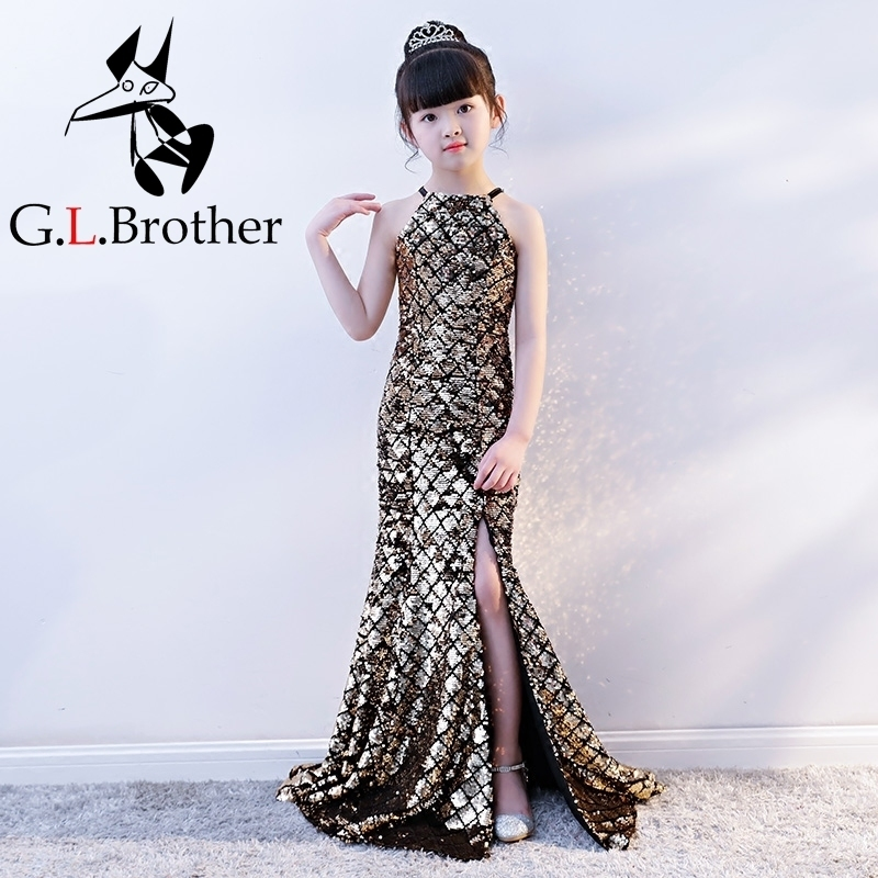 Luxury Gold Mermaid Kids Pageant Dress For Birthday Costume Sequines Halter Split Girls Evening Dress Bodycon Fishtail Gowns B цены онлайн