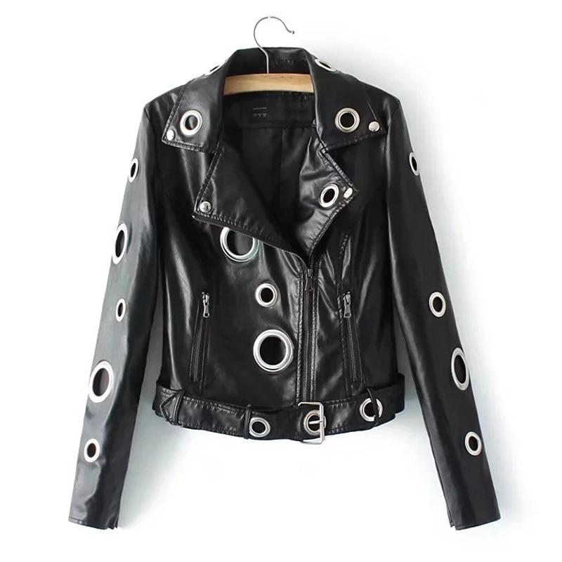 Mode trou cool en cuir noir veste printemps femmes veste manteau femme hiver chaud streetwear automne manteau 2019 veste femme