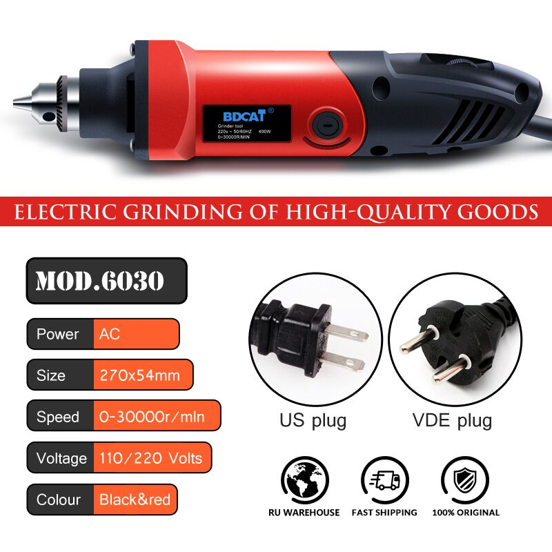 Image 2 - BDCAT 400W Mini Drill Rotary Tool Variable Speed Electric Grinder Engraving Polishing Power Tools with 206pcs Dremel Accessories-in Electric Drills from Tools