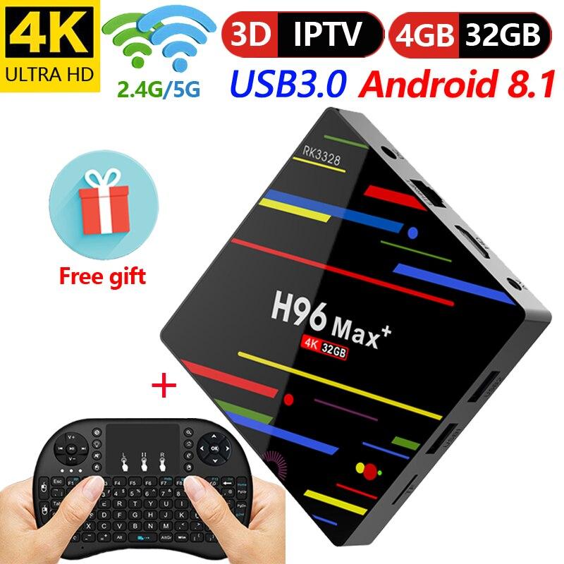 H96 最大プラスアンドロイド Tv ボックスな Rockchip RK3328 クアッドコアアンドロイド 8.1 DDR3 4 ギガバイト 32 ギガバイト内蔵 5.8 グラム wiFi H.265 4 18K IPTV ボックス  グループ上の 家電製品 からの セット トップ ボックス の中 1