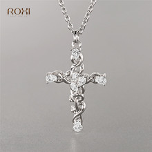 ROXI Crystal Rhinestone Cross Pendant Necklace Twisted Cross Chockers Necklace Women Jewelry 2019 Fashion Statement Necklace