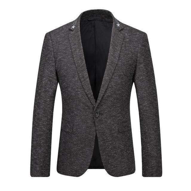 Европа и соединенные Штаты мужская новая зимняя 2016 Костюмы принес звезды вышивка серый пиджак из воспитать в себе мораль