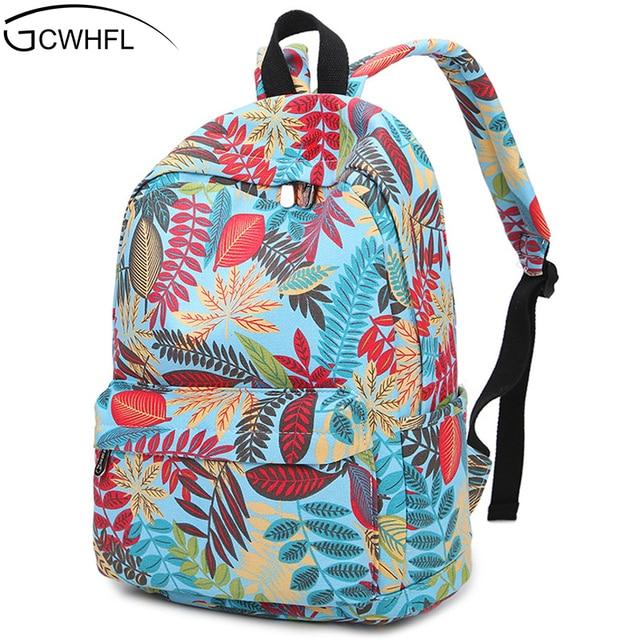 cd4d579f0471c Nowe Płótno Plecaki Dla Dziewczyn Kolorowe Liście Wydrukowano Kobiety  Rozrywka Plecak Podróży Plecak Gimnazjum Tornister Ucznia