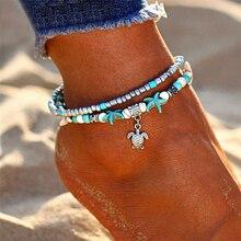 цена на Bohemia Turtle Pendant Anklets For Women Multilayer Beads Stone Shell Anklet Bracelets Female Handmade Jewelry Bracelet Cheville