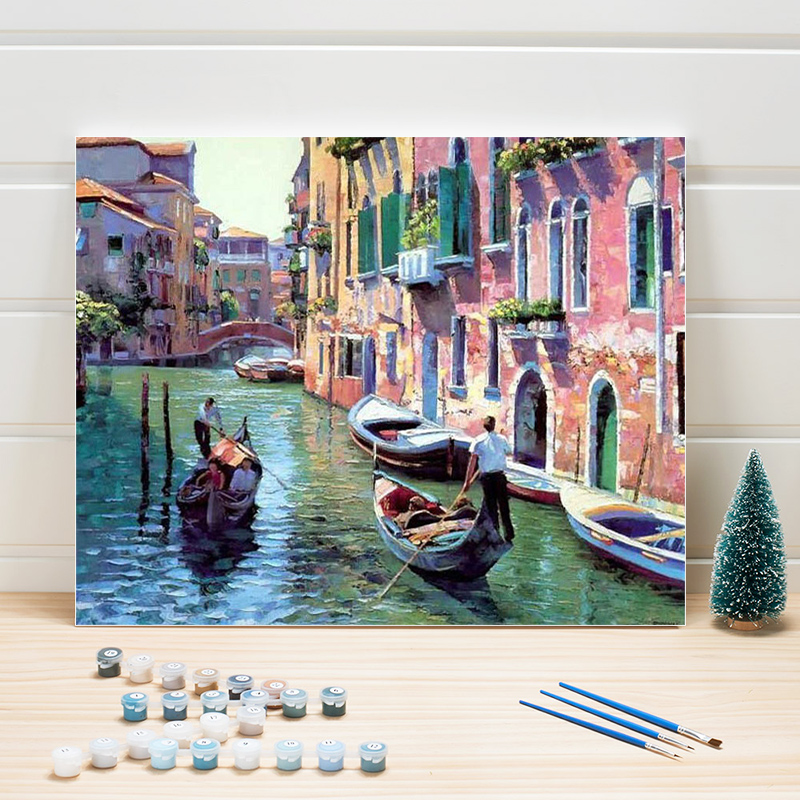 Paint Painting By Numbers Venice Scenery DIY Wall Pictures For Living Room Home Decoration Acrylic Canvas Coloring Art Draw Kits