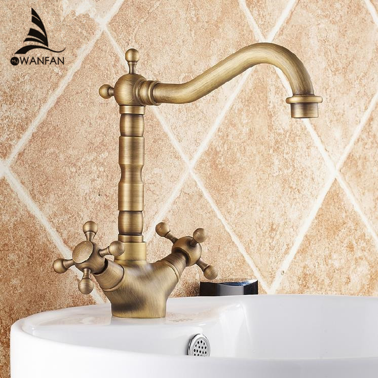 Basin Faucets Antique Bronze Brass Swivel Bathroom Sink Faucet 2 Lever Deck Toilet Washbsin Mixer Water Taps WC Cock ZLY-6711F 2 hole deck mounted 360 swivel spout bathroom basin faucet antique brass dual cross handles kitchen sink mixer taps wnf036