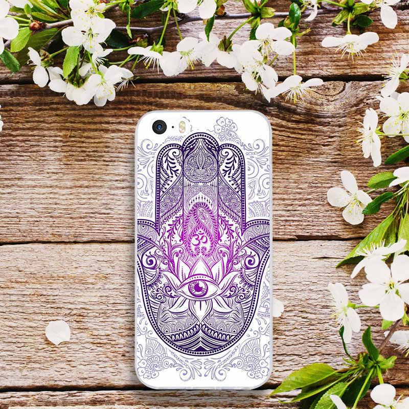"""Мягкий из термопластика силиконовый чехол для мобильного телефона чехол для iPhone X XR XS макс 7 6 6s 8 плюс 4 4S 5 5S SE 5C сумки оболочки Цветы дурмана рука Фатимы"""""""