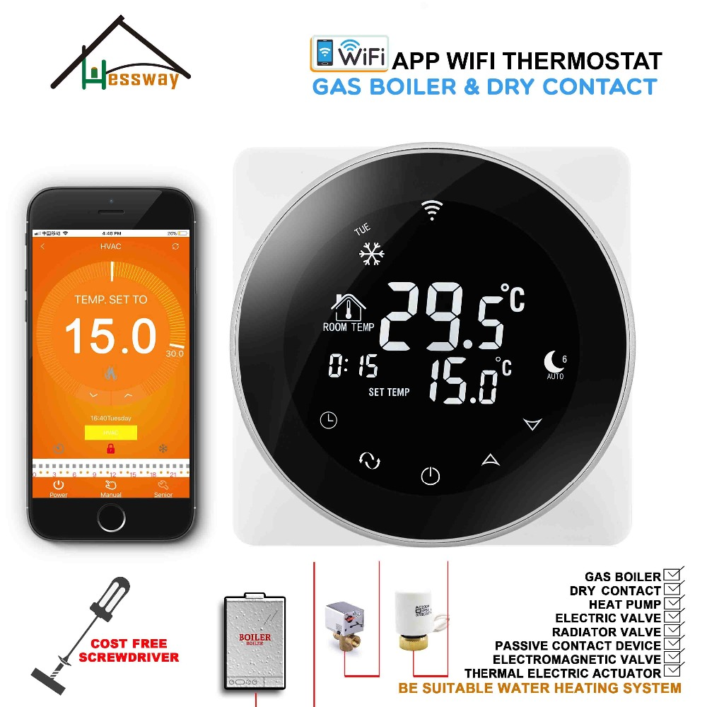2 In 1 Gas Boiler & Underfloor Warm System THERMOSTAT WIFI Temperature Controller For Dry Contact & Radiator
