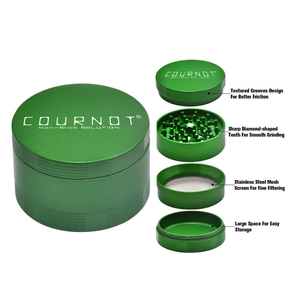 COURNOT Aluminum Alloy Non-Stick Smoking Herb Grinder Metal 63MM 4 Layers Herb Chrsher Tobacco Herb Grinder  Accessories