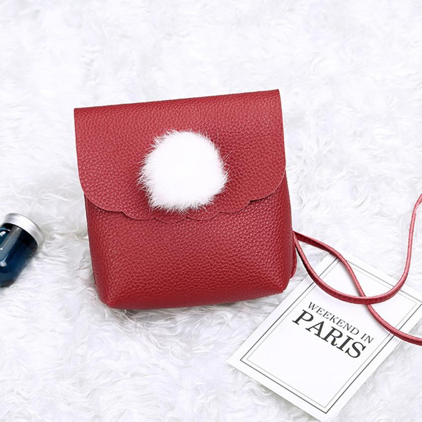 Maison Fabre wallet Women 2018 fashion ladies hair ball solid color shoulder Messenger bag pu wild mobile phone bag purse May3
