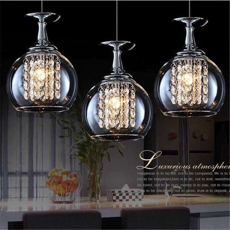 цена на Wineglass Wine Glass Pendant Lights 3 Light Modern NEW Crystal Light Pendant Lamp Ceiling Hanging K9 restaurants lights FG784