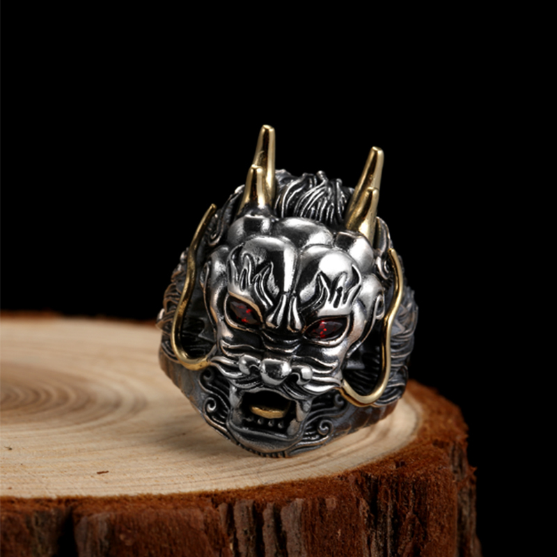 ZABRA Luxury 925 Sterling Silver Dragon Ring Big Adjustable Size Red Stone Cubic zirconia Punk Mens Rings Gothic Biker Jewelry - 5