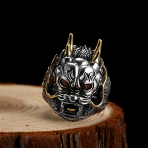 Image 5 - ZABRA Luxury 925 Sterling Silver Dragon Ring  Big Adjustable Size Red Stone Cubic zirconia Punk Mens Rings Gothic Biker Jewelry