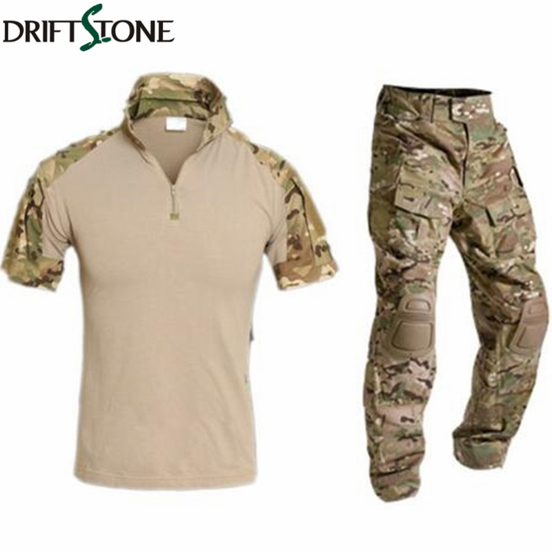 Multicam Militaire Uniforme Camouflage Costume Hommes Courts Armée Combat Shirt + Pantalon Cargo Paintball Tactique Vêtements Ensemble