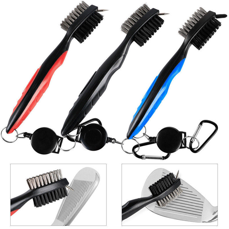 Golf Brush Iron Double Sided Plastic Metal Material Comfortable To Cleaner Golf Clubs Brush Free Shipping