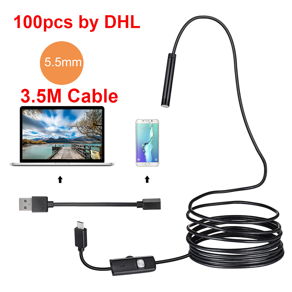 10/20/50/100pcs by DHL 5.5mm 3.5M Borescope Inspection Camera Endoscope USB Android Endoscope Waterproof HD Endoscope Camera