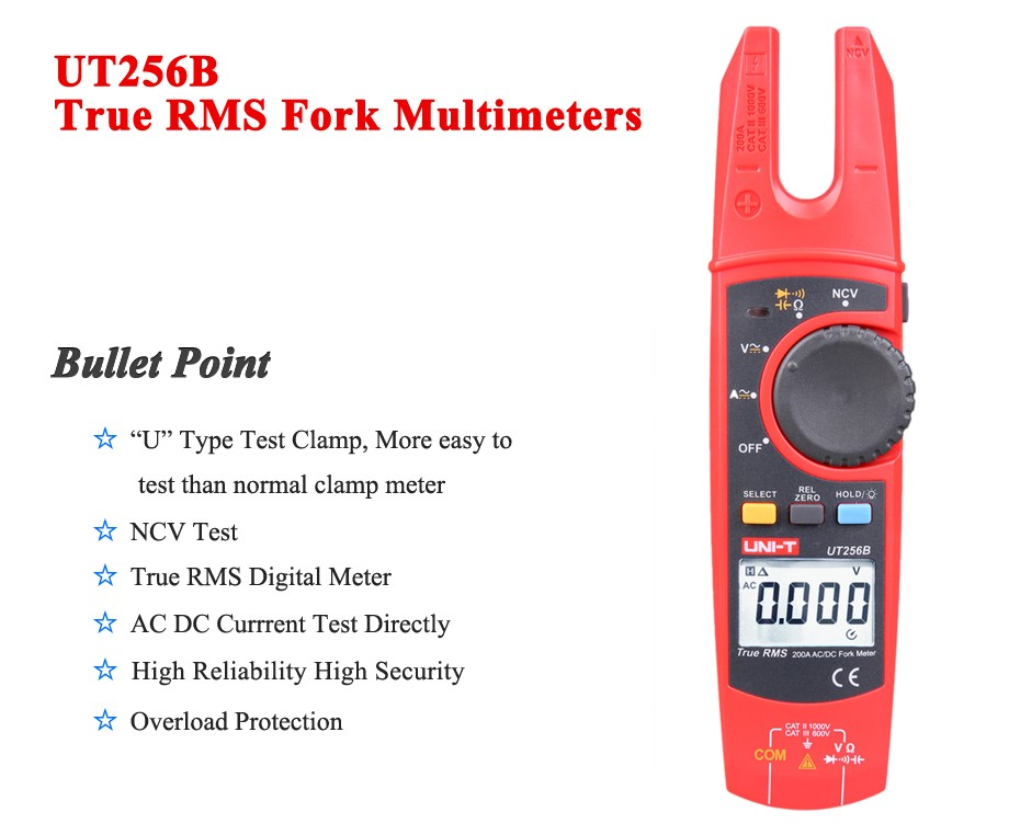 ФОТО UNI-T UT256B True RMS Fork Multimeter 200A AC DC Current Clamp Meters NCV Tester Voltmeter Ohm Cap Auto Range