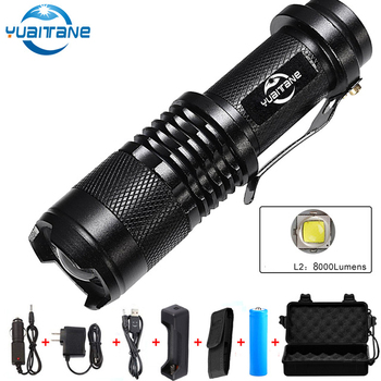 LED Flashlight 8000 Lumens L2 Led Torch 5 modes Flash Light Waterproof IPX-6 Torch Use 18650 Rechargeable battery for Camping led rechargeable flashlight pocket xml t6 linterna torch 1000 lumens 18650 battery outdoor camping powerful led flashlight
