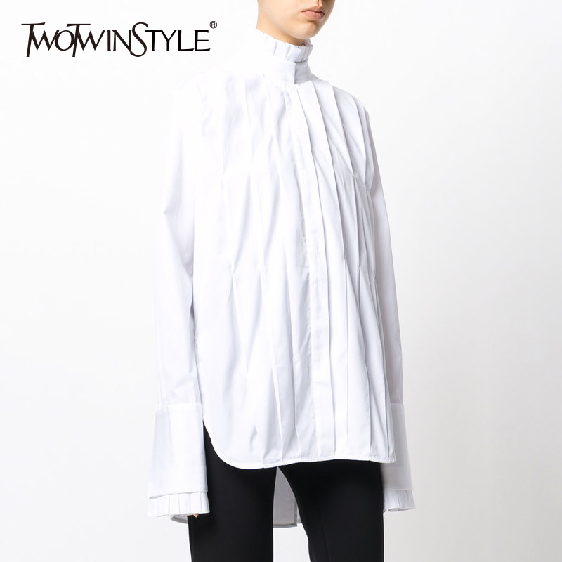 TWOTWINSTYLE Plaid Blouse Women s Shirts Tops Female Stand Collar Long Sleeve Pleated Blouses Autumn Fashion
