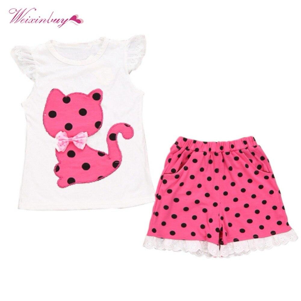 WEIXINBUY Newborn Baby Girl Clothing Set Bow Cat Shirt+Pants 2pcs Clothes Suit Polka Dot Summer Style Top Sweater Clothing Set