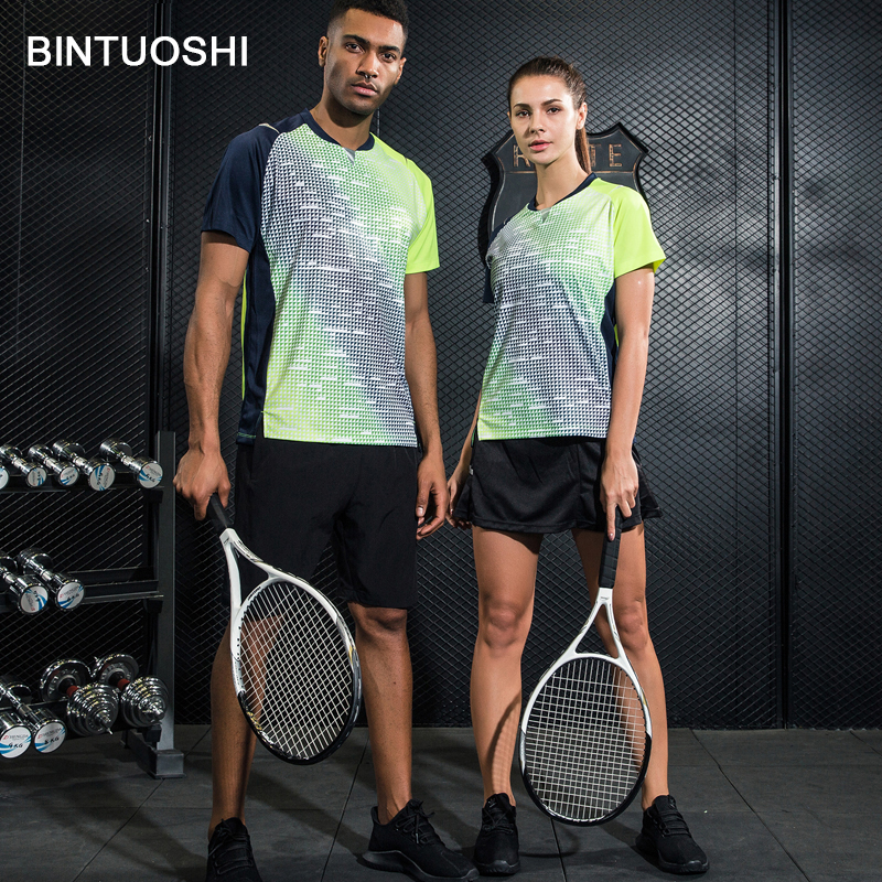 BINTUOSHI Women/Men Badminton Tennis Clothing Table Tennis Shirt+Shorts Sport Clothes Set Breathable Quick Dry Sport Suits
