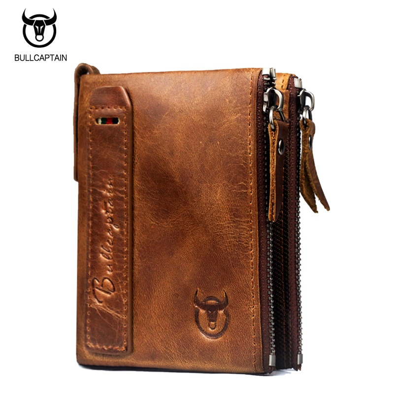 BULLCAPTAIN Genuine Leather Zipper Men Wallet Vintage Mens Small Wallet Short Design Cowhide Leather Coin Purse Card Holder