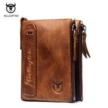 BULLCAPTAIN Genuine Leather Zipper Men Wallet Vintage Mens Small Wallet Short Design Cowhide Leather Coin Purse Card Holder