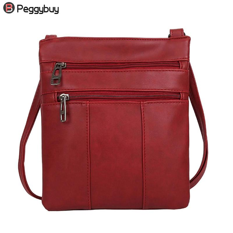 PU Leather Zipper Crossbody Shoulder Bag Vintage Solid Color Women Messenger Bags Satchel Handbag Fashion bolsa Feminina mochila fashion floral print women bag crossbody women messenger bags pu leather handbag purse sling shoulder bags bolsa feminina