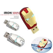 LED Iron Man pendrive USB Flash Drive Pen Drive usb cable Flash Card Memory Stick Drives 64GB 32GB 16GB 8GB 4GB Fashion Avengers